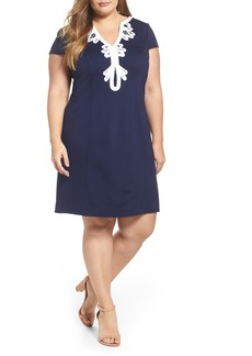 Eliza J Embroidered Ponte Sheath Dress (Plus Size)