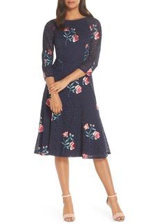 Eliza J Embroidery & Lace A-Line Dress (Regular & Petite)