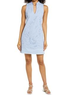 Eliza J Eyelet Sleeveless Shift Dress