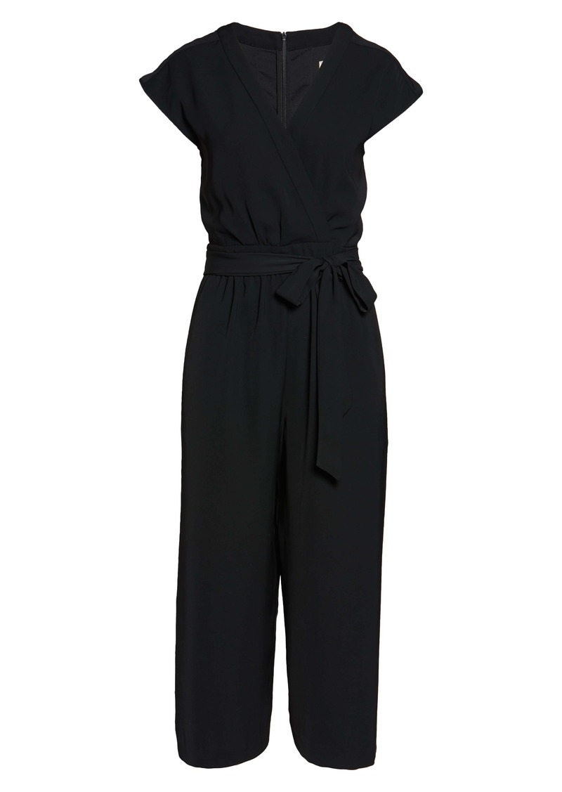 Eliza J Faux Wrap Crop Jumpsuit (Regular & Petite)