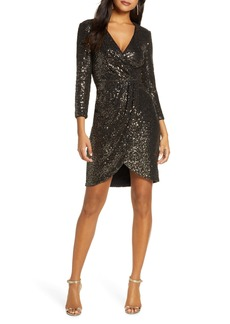 Eliza J Faux Wrap Sequin Cocktail Dress