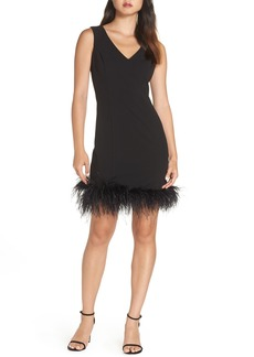 Eliza J Feather Trim Body-Con Dress