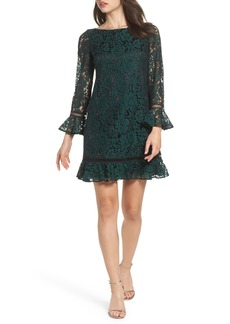 Eliza J Bell Sleeve Lace Shift Dress (Regular & Petite)