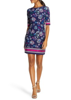 Eliza J Floral & Stripe Shift Minidress