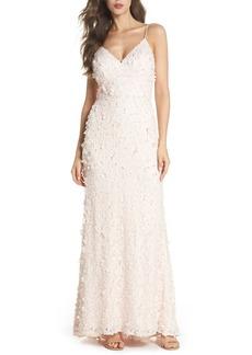 Eliza J Floral Appliqué Lace Gown (Regular & Petite)