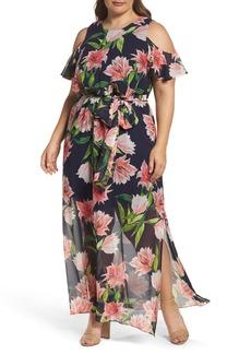 Eliza J Floral Chiffon Cold Shoulder Maxi Dress (Plus Size)