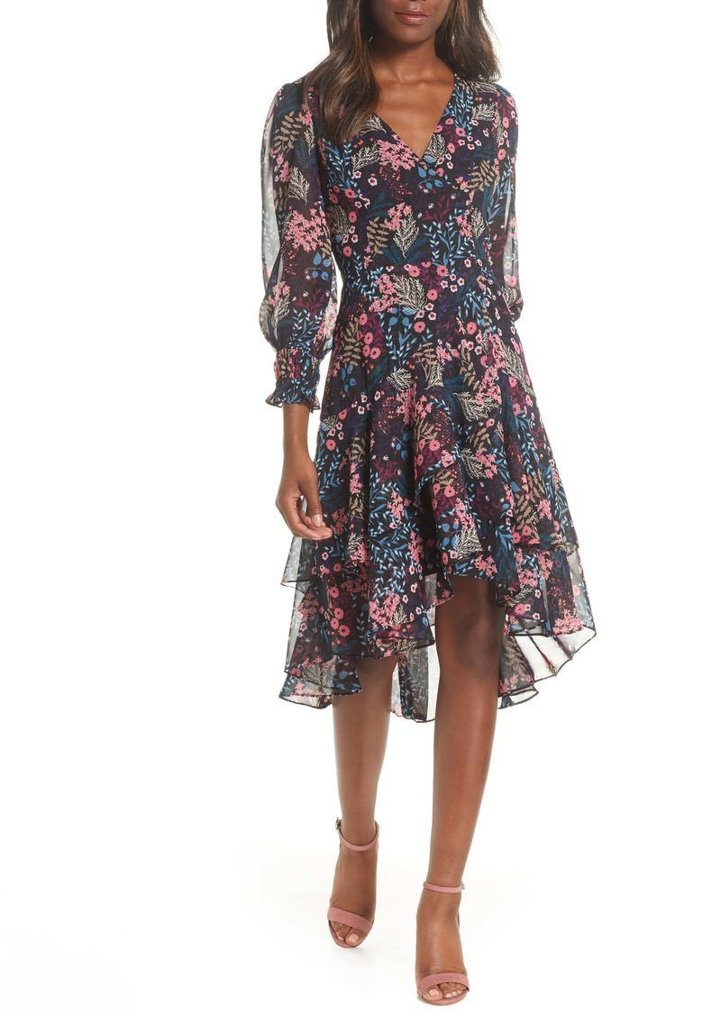 Eliza J Floral Flounce Fit & Flare Chiffon Dress