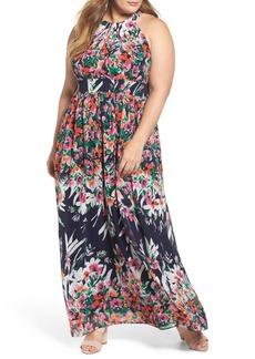 Eliza J Floral Halter Chiffon Maxi Dress (Plus Size)