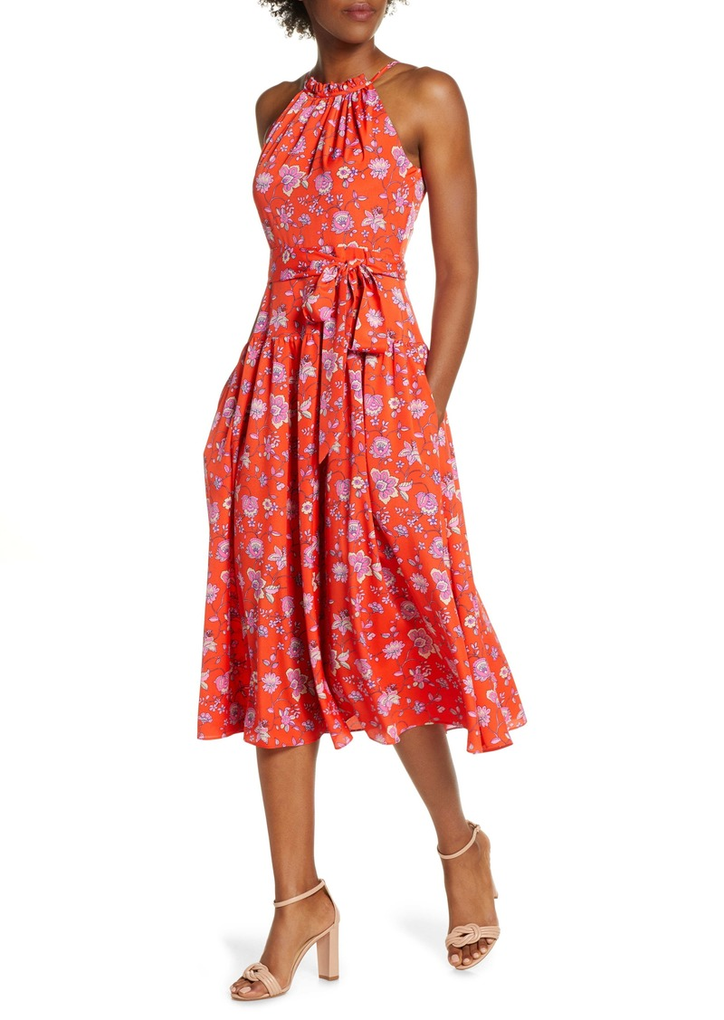Eliza J Floral High Neck Midi Dress