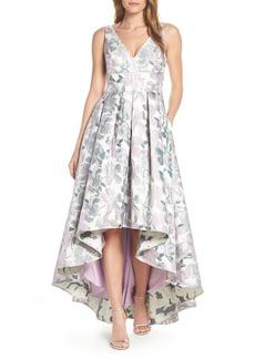 Eliza J Floral Jacquard High/Low Evening Dress