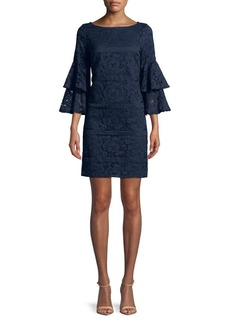 Eliza J Floral Lace Bell-Sleeve Sheath Dress