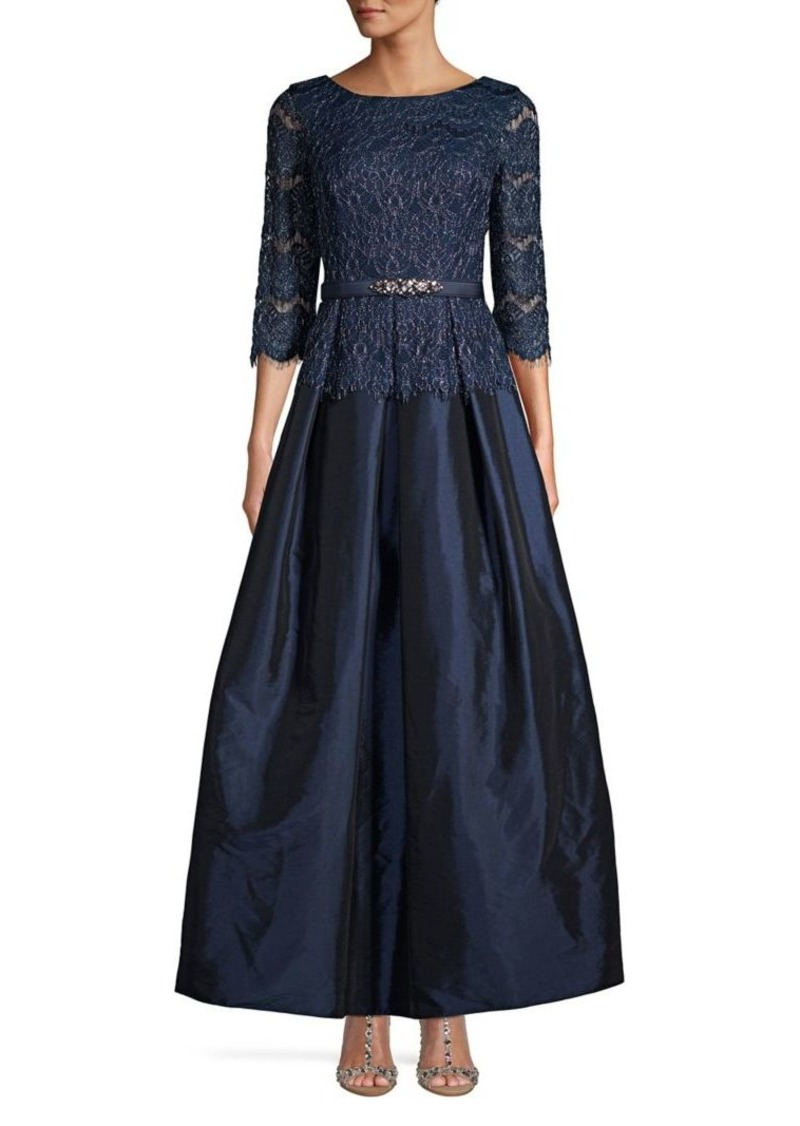 db4aa810d0 Eliza J Eliza J Floral Lace Three-Quarter Gown