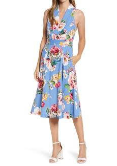 Eliza J Floral Linen Blend Sundress