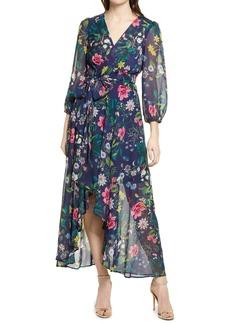 Eliza J Floral Long Sleeve Faux Wrap Dress