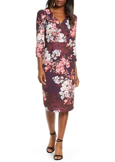 Eliza J Floral Long Sleeve Sheath Dress