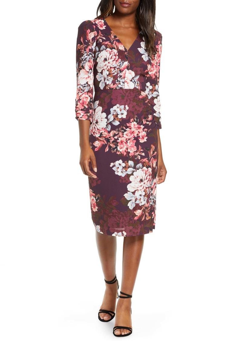 Eliza J Floral Long Sleeve Sheath Dress