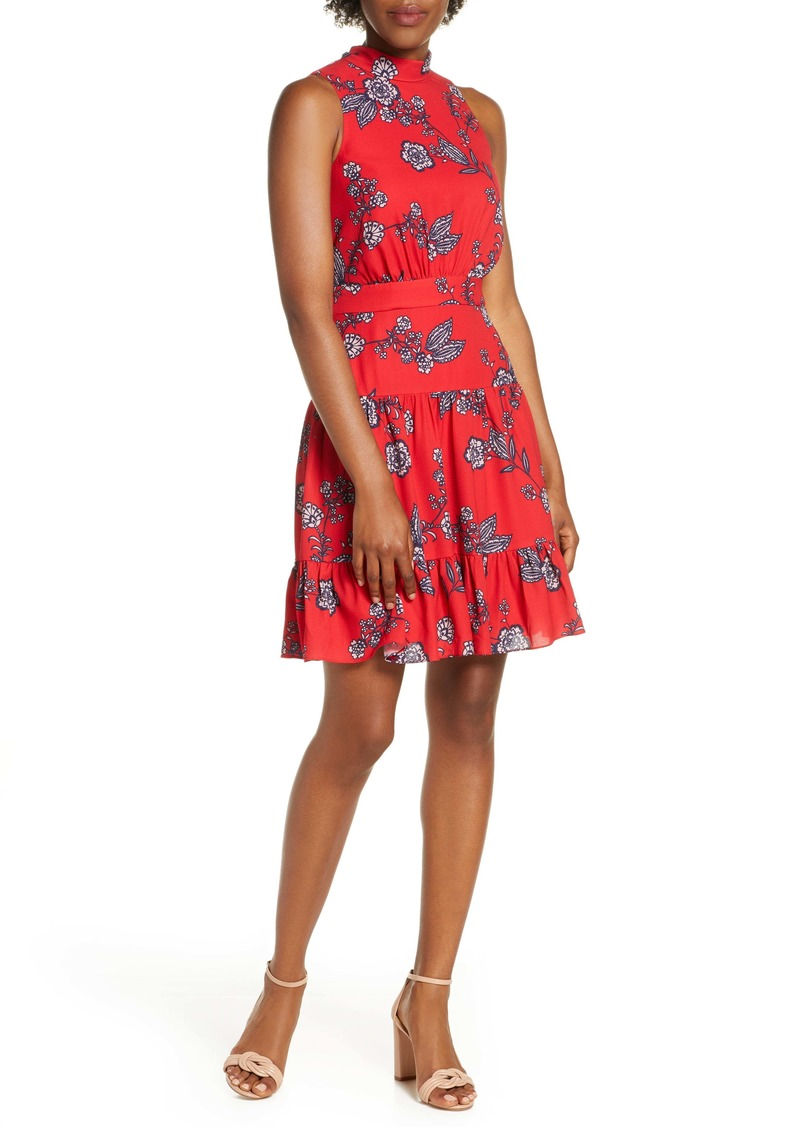 Eliza J Floral Mock Neck Crepe Fit & Flare Minidress (Regular & Petite)