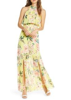 Eliza J Floral Popover Chiffon Maxi Dress