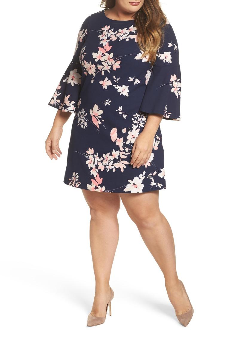 eb48f06e Eliza J Eliza J Floral Print Bell Sleeve Shift Dress (Plus Size ...
