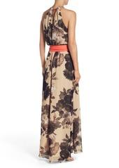 b85f156e2aa Eliza J Eliza J Floral Print Halter Chiffon Maxi Dress