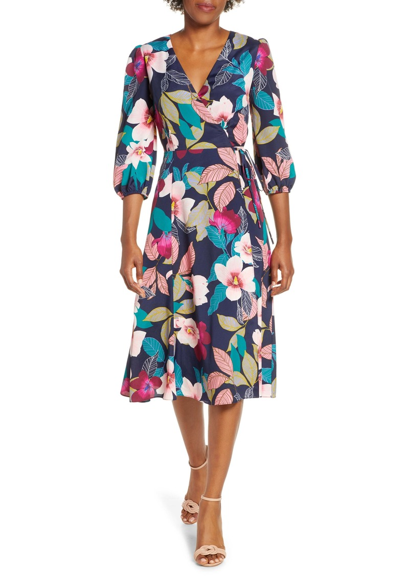 Eliza J Floral Print Faux Wrap Dress (Regular & Petite)