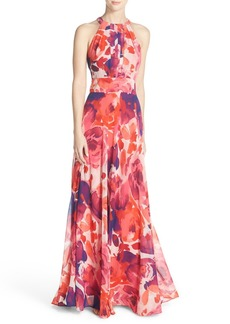 Eliza J Floral Print Halter Maxi Dress (Regular & Petite)