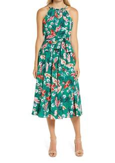 Eliza J Floral Print Halter Neck Belted Dress