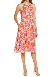 Eliza J Floral Print Halter Neck Dress