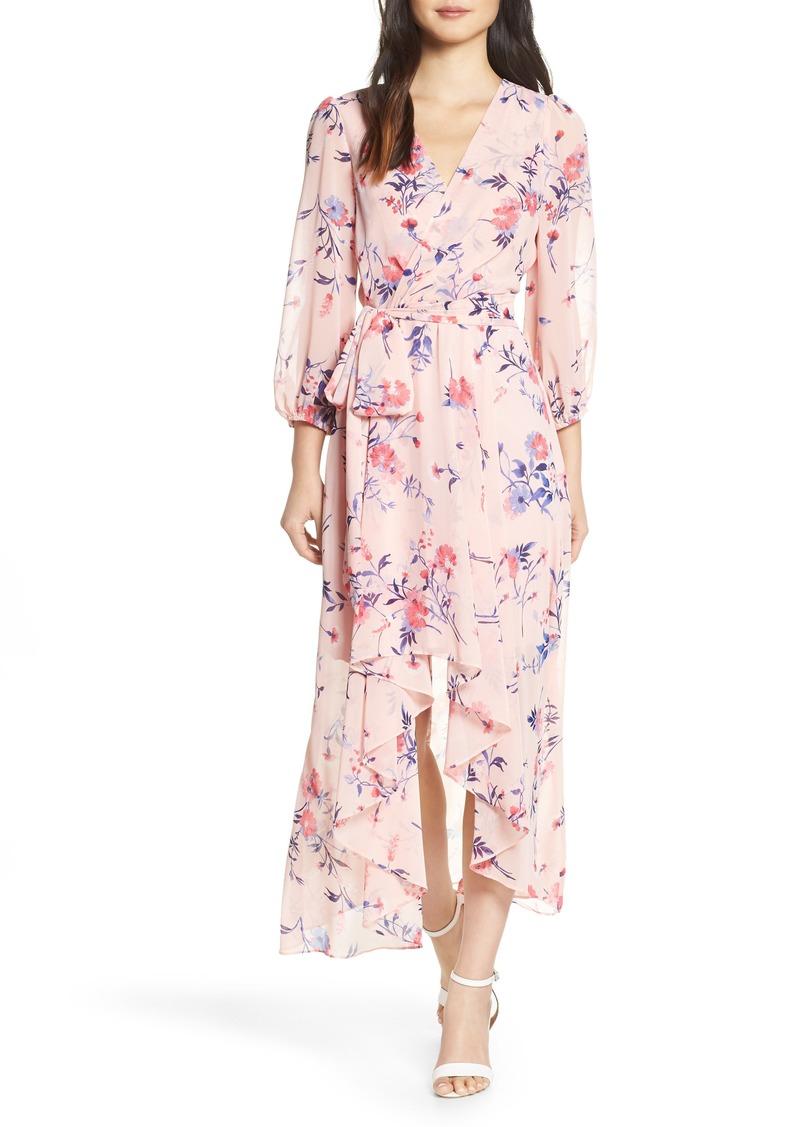 bac43dcd46 Eliza J Eliza J Floral Print High/Low Wrap Maxi Dress
