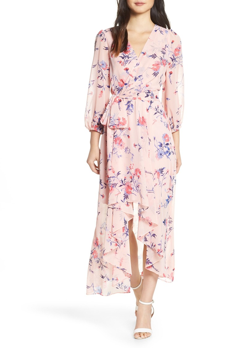 4aa628cd96693 Eliza J Eliza J Floral Print High/Low Wrap Maxi Dress