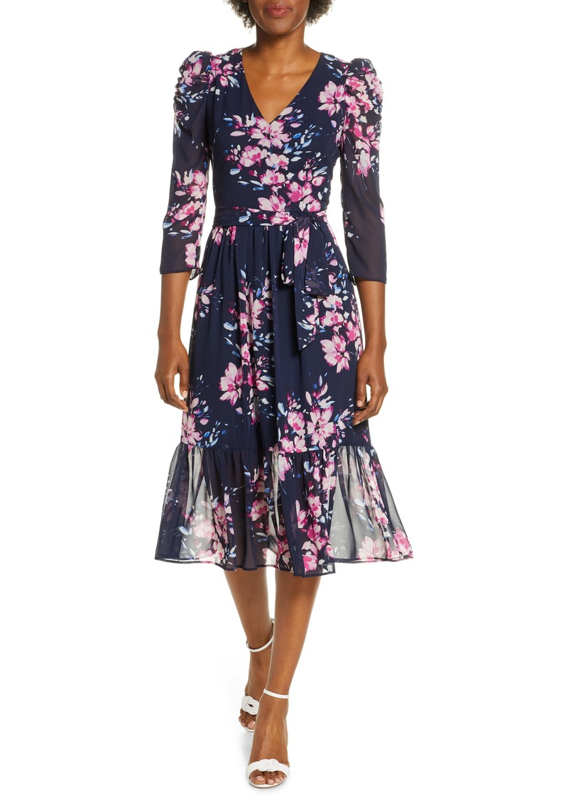 Eliza J Floral Ruffle Hem Dress