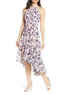 Eliza J Floral Ruffle High/Low Halter Dress (Regular & Petite)