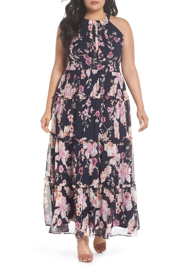 Eliza J Eliza J Floral Ruffle Trim Chiffon Halter Maxi Dress (Plus Size) |  Dresses
