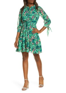 Eliza J Floral Smocked Waist Chiffon Dress