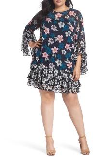 Eliza J Flounce Bell Sleeve Floral Fil Coupé Chiffon Shift Dress (Plus Size)