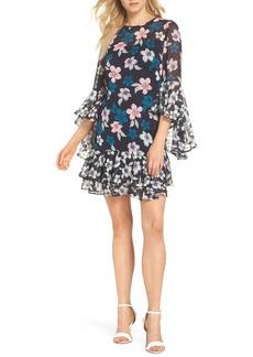 Eliza J Flounce Bell Sleeve Floral Fil Coupé Chiffon Shift Dress (Regular & Petite)