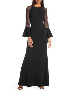 Eliza J Flounce Long Sleeve Scuba Gown