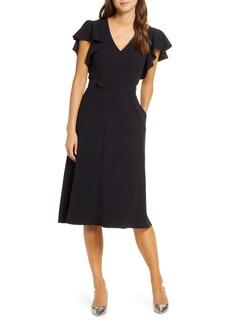 Eliza J Flutter Sleeve Belted Crepe Midi Dress