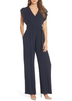 Eliza J Flutter Sleeve Crepe Jumpsuit (Regular & Petite)
