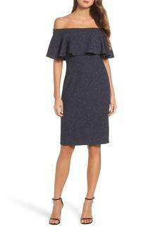 Eliza J Glitter Knit Ruffle Off the Shoulder Dress
