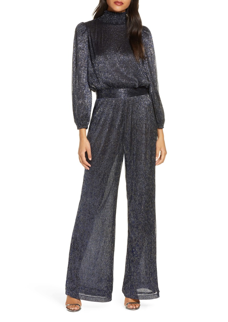 Eliza J Glitter Long Sleeve Smocked Jumpsuit