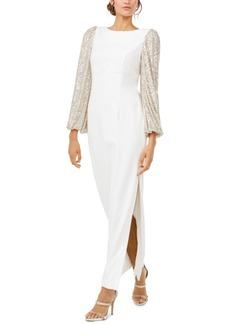 Eliza J Glitter-Sleeve White Gown