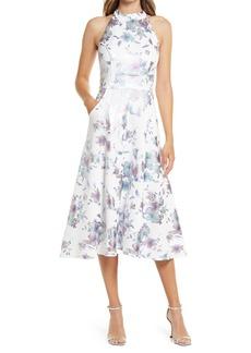 Eliza J Halter Mock Neck Floral Evening Gown
