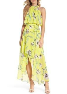 Eliza J Halter Neck Chiffon Maxi Dress (Regular & Petite)