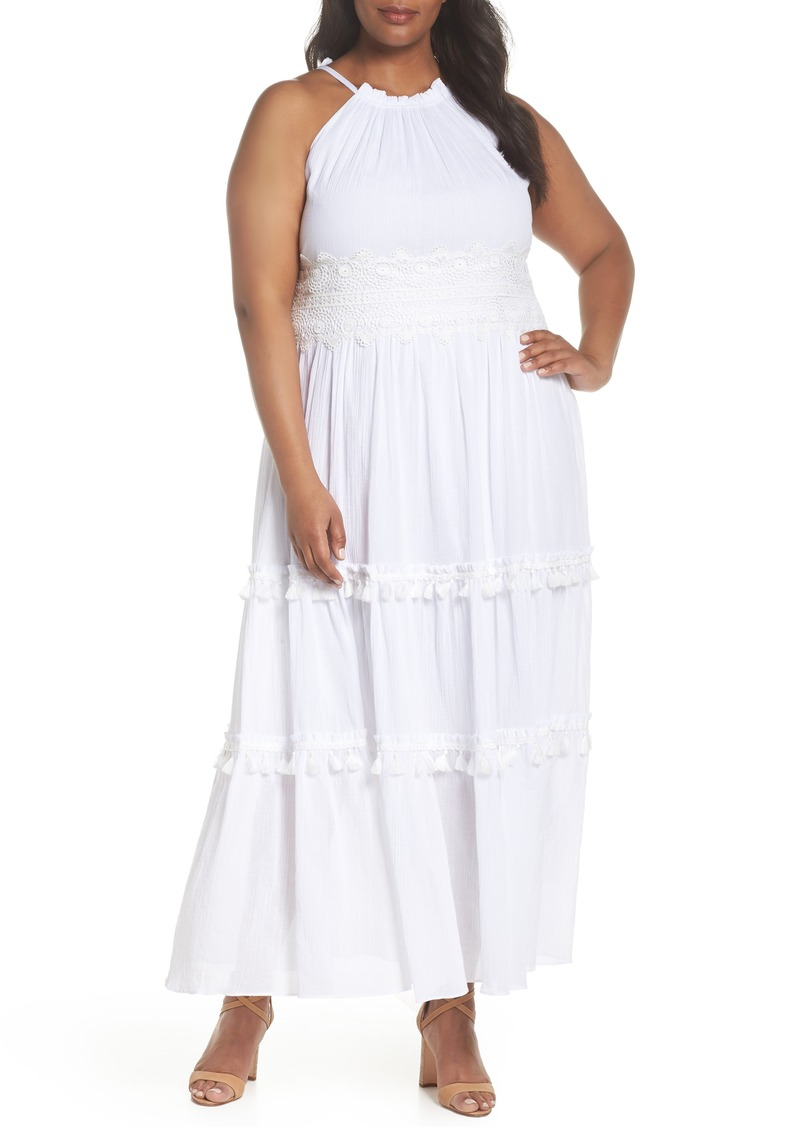 SALE! Eliza J Eliza J Halter Neck Cotton Maxi Dress (Plus Size)