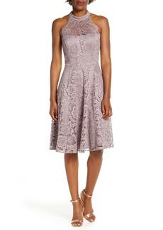 Eliza J Halter Neck Lace Fit and Flare Dress