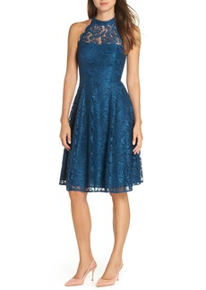 Eliza J Halter Neck Lace Fit and Flare Dress