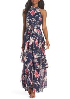 Eliza J Halter Neck Ruffle Chiffon Maxi Dress