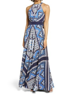 Eliza J Halter Neck Scarf Print Maxi Dress