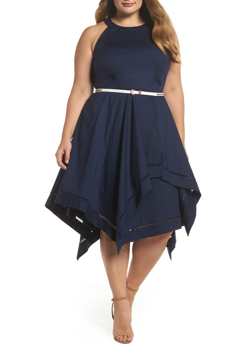 Eliza J Eliza J Handkerchief Hem Fit & Flare Dress (Plus Size) | Dresses